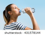 young woman drinking water...   Shutterstock . vector #431578144
