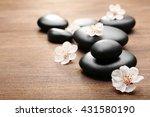 heap of spa hot stones on... | Shutterstock . vector #431580190