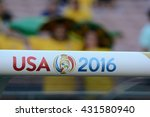 Small photo of Pasadena, USA - June 04, 2016: Copa Centenario Logo during Copa America Centenario match Brazil vs Ecuador at the Rose Bowl Stadium.