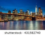 manhattan with skyscrapers and... | Shutterstock . vector #431582740
