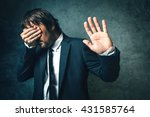 crooked politician hiding face... | Shutterstock . vector #431585764