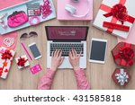 fashion blogger working at... | Shutterstock . vector #431585818