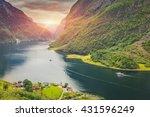 beautiful scene of mountain and ... | Shutterstock . vector #431596249