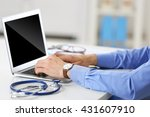doctor working on a computer in ... | Shutterstock . vector #431607910