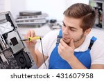 young repairer working with... | Shutterstock . vector #431607958