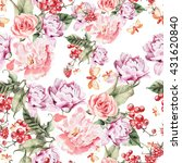 watercolor pattern with peony... | Shutterstock . vector #431620840