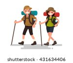 hiking tourists walk. a young... | Shutterstock .eps vector #431634406