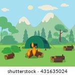 camping travel flat cartoon... | Shutterstock .eps vector #431635024