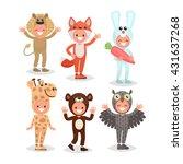 set boys and girls dressed in... | Shutterstock .eps vector #431637268