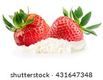strawberries with whipped cream ... | Shutterstock . vector #431647348