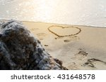 heart draw on the beach and... | Shutterstock . vector #431648578