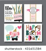 set of birthday greeting cards... | Shutterstock .eps vector #431651584