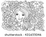 fairy's face and doodle floral... | Shutterstock .eps vector #431655046