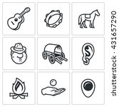 Vector Set Of Gypsy Camp Icons...