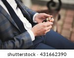 confident businessman looking... | Shutterstock . vector #431662390