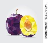 plum. polygonal plum in vector | Shutterstock .eps vector #431671924