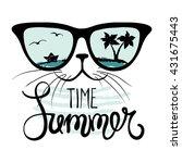 cat in sunglasses funny summer... | Shutterstock .eps vector #431675443