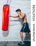 young man boxing workout  | Shutterstock . vector #431676286