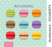 set of colorful macaroon... | Shutterstock .eps vector #431682874