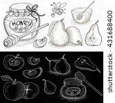 set of chalk hand drawn  in...   Shutterstock .eps vector #431688400