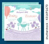 baby arrival card with barbecue ... | Shutterstock .eps vector #431691670