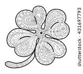 Hand Drawn Four Leaf Clover For ...