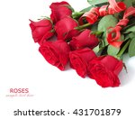 Stock photo red rose flowers bunch with bow isolated on white background 431701879