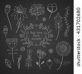 vector floral set on a black... | Shutterstock .eps vector #431702680