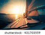 young man on the sailing boat... | Shutterstock . vector #431703559