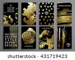 set of black and gold design... | Shutterstock .eps vector #431719423