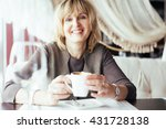 lovely middle aged blond woman... | Shutterstock . vector #431728138
