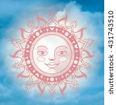 vector ornament sun face on the ... | Shutterstock .eps vector #431743510
