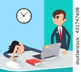 lazy businessman sleeping at...   Shutterstock .eps vector #431747608