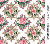seamless pattern of roses and... | Shutterstock .eps vector #431748004