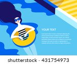 young long haired girl sunbath... | Shutterstock .eps vector #431754973
