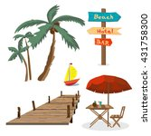set of summer beach objects.... | Shutterstock .eps vector #431758300