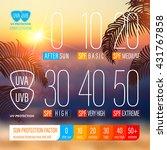 sunblock spf scale icons of uv... | Shutterstock .eps vector #431767858