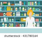pharmacist drug store workplace ... | Shutterstock .eps vector #431780164