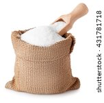 Small photo of sugar with scoop in burlap sack isolated on white background. Full bag of sugar crystals closeup