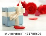Gift Box  Rose Flowers And...