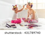 beautiful young mother and her... | Shutterstock . vector #431789740