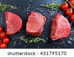 fresh raw beef steak mignon ... | Shutterstock . vector #431795170