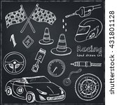 racing auto items sketch icons... | Shutterstock .eps vector #431801128