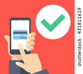 credit card on smartphone... | Shutterstock .eps vector #431811619