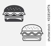 Burger Line Icon  Hamburger...