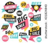 colorful trendy sale badges ... | Shutterstock .eps vector #431824840