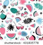 summer seamless pattern. vector ... | Shutterstock .eps vector #431835778