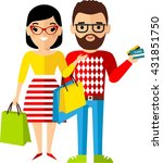 shopping concept with couple... | Shutterstock .eps vector #431851750