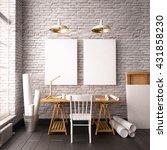 desk in hipster style loft.... | Shutterstock . vector #431858230