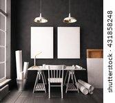desk in hipster style loft.... | Shutterstock . vector #431858248